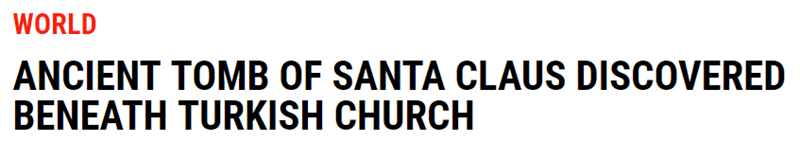 Wednesday meme with headline about Santa Claus' grave