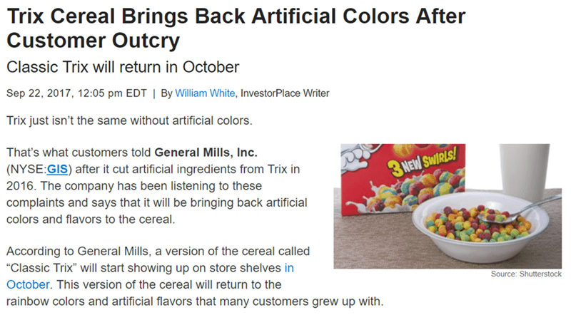 Wednesday meme with headline about customers demanding artificial colors in their cereal