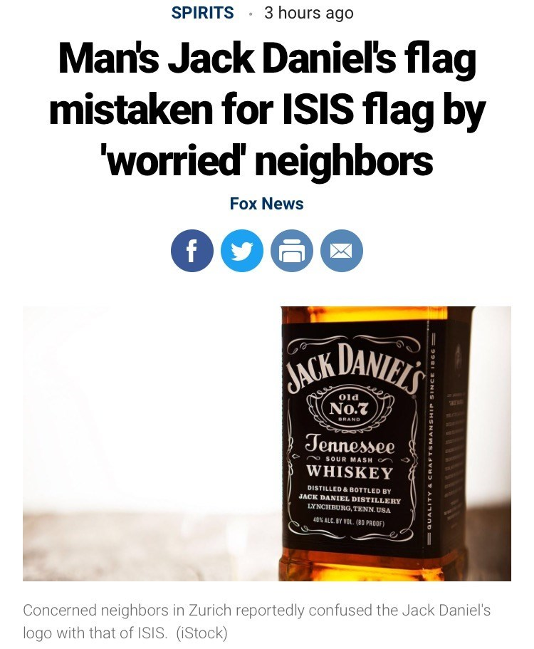 Wednesday meme with headline about the Jack Daniel's label looking like the ISIS flag