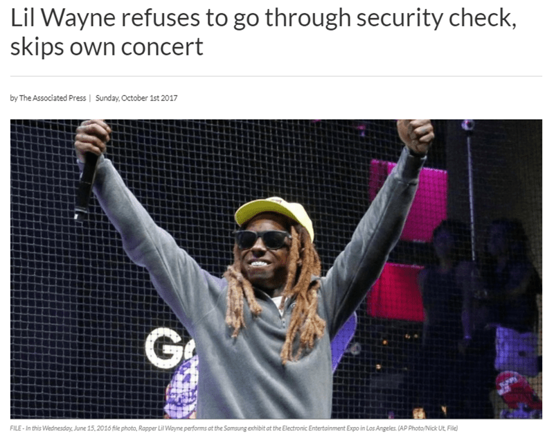 Wednesday meme with headline about Lil Wayne skipping his own concert