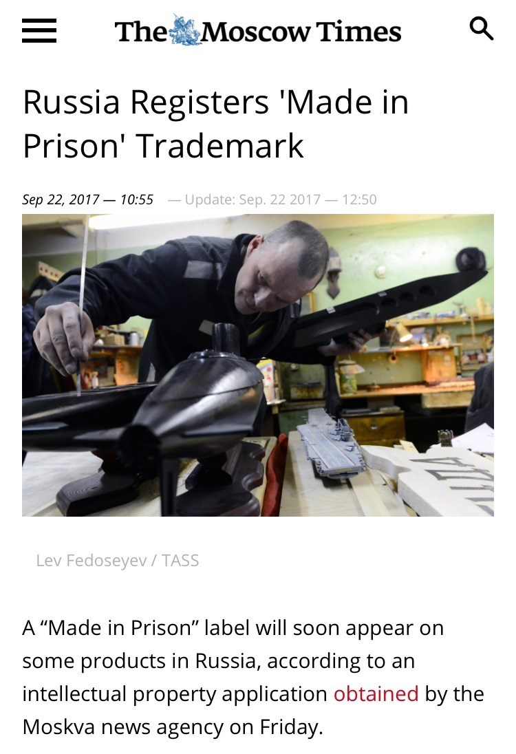 Wednesday meme with headline about prison factories in Russia