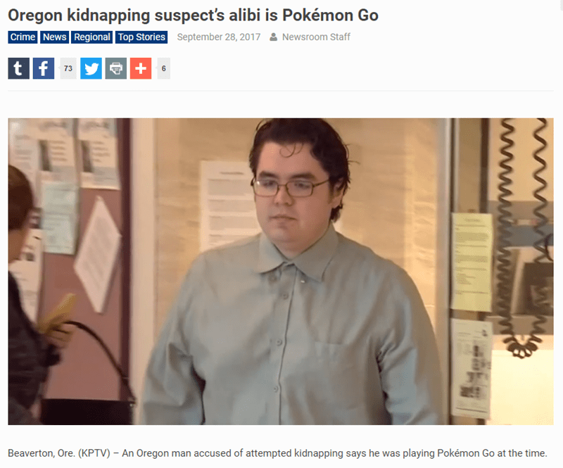 Wednesday meme with headline about using Pokemon Go as alibi