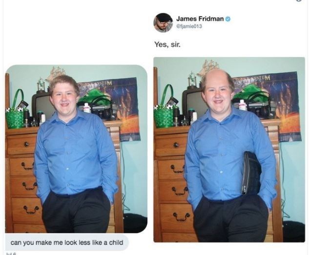 Adaptation - James Fridman e efamie013 Yes, sir. can you make me look less like a child