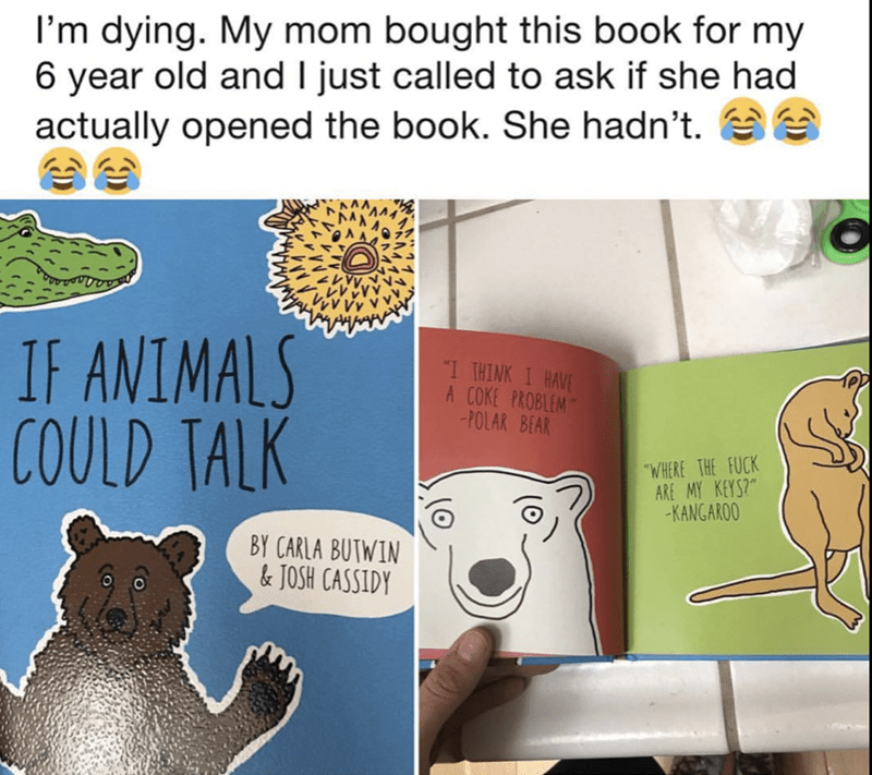 Hilarious kids book with fowl language that mom probably didn't look at before giving it to grandkids