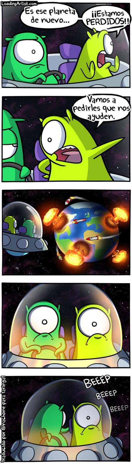 una pareja de marcianos quiere visitar la tierra