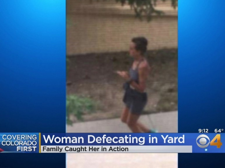 Water - 9:12 64° COVERING Woman Defecating in Yard COLORADO FIRST Family Caught Her in Action