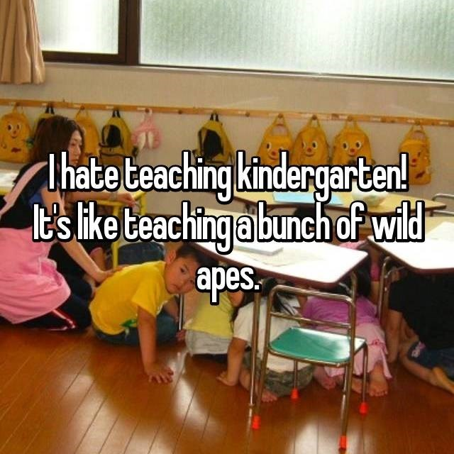 I hate teaching kindergarten! It's like teaching a bunch of wild apes.