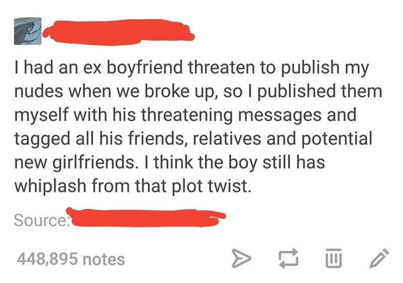 Text - I had an ex boyfriend threaten to publish my nudes when we broke up, sol published them myself with his threatening messages and tagged all his friends, relatives and potential new girlfriends. I think the boy still has whiplash from that plot twist. Source: 448,895 notes