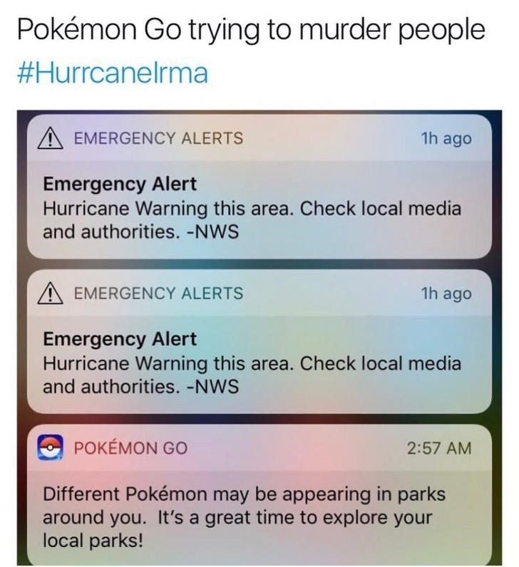 Screen grab of Pokemon Go trying to send you into hurricane alert areas