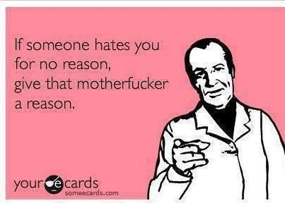 ecard quip about if someone hates you for no reason, give them a reason