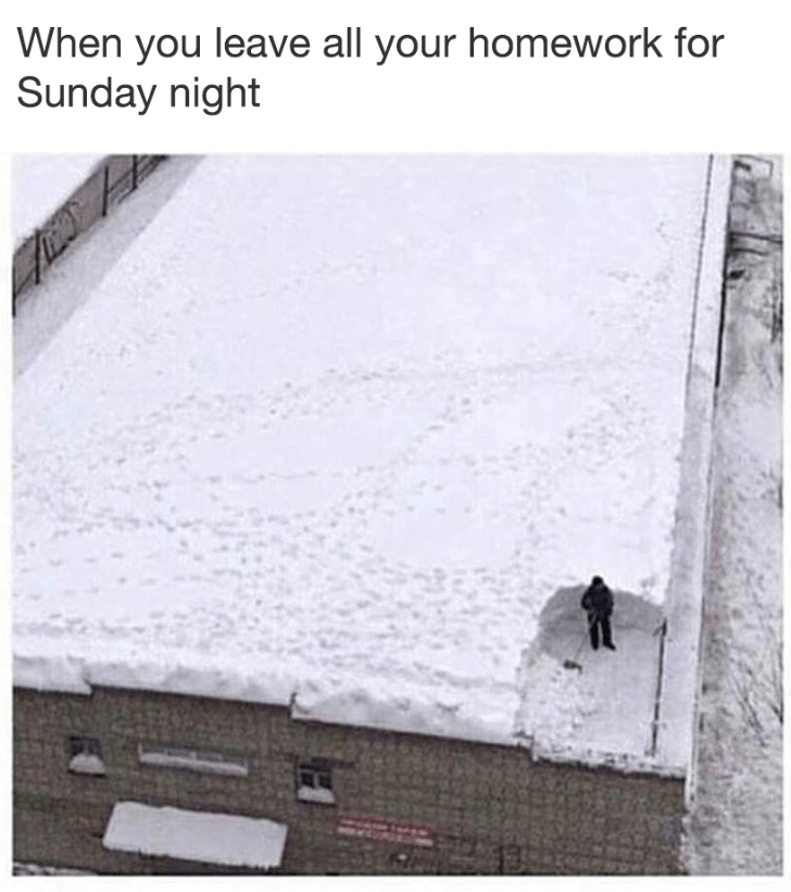 Funny meme about leaving homework until the last minute (Sunday) a man shoveling a giant roof.