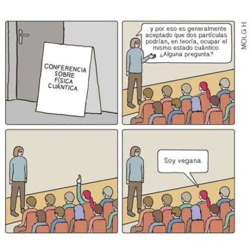 chica dice que es vegana en una conferencia de fisica