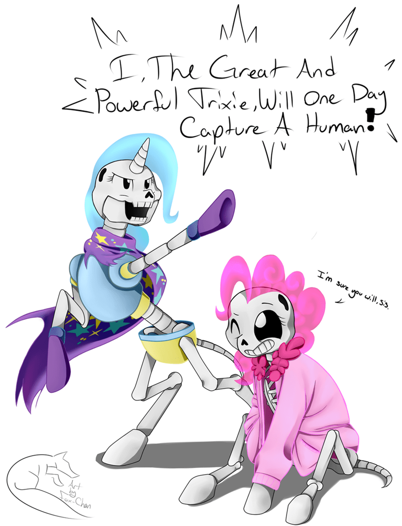 the great and powerful trixie fox-chan the artist pinkie pie undertale ponify spooky scary skeletons - 9083368704