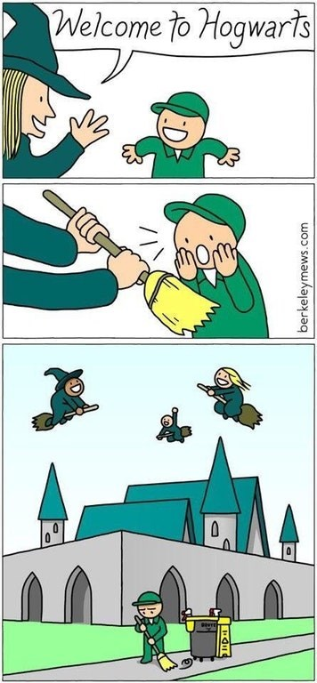 Funny web comic about Hogwarts, kid gets excited but he is only given a broom so he can be the janitor.