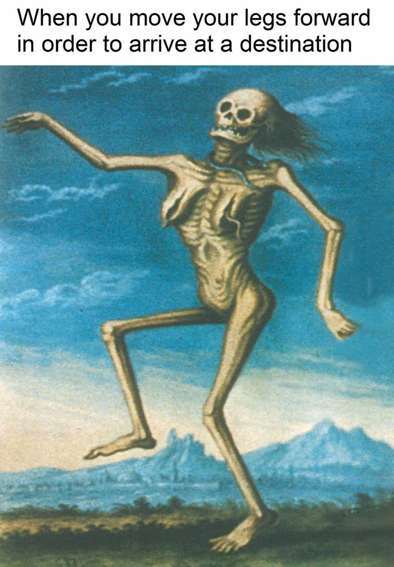 Funny meme about feeling dead but you have to go to your destination