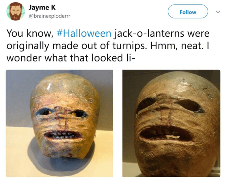 Scary tweet of a terrifying jack-o-lantern made from turnips