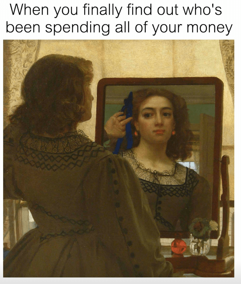Funny meme about looking in the mirror and figuring out finally who has been spending all your money