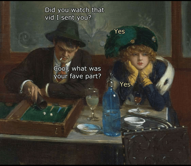 classical art meme about not listening to what your man is saying