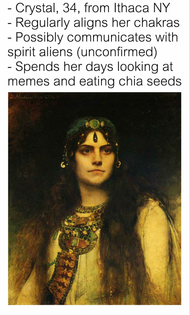 Funny meme about classical art woman