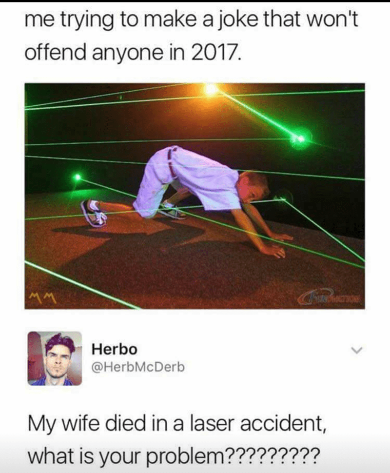 Funny meme about how you can't make a joke without offending someone in 2017