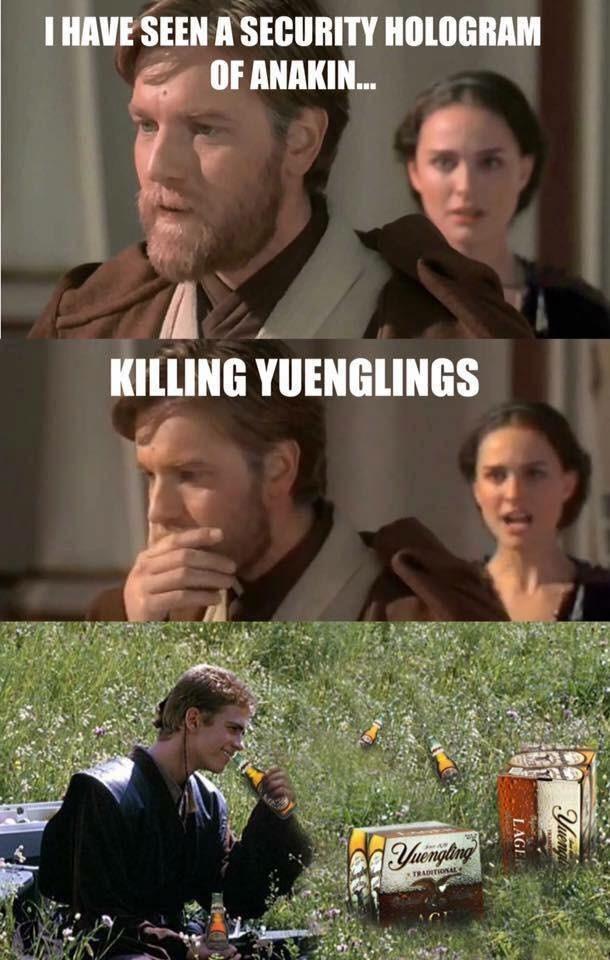 Meme of Anakin killing Yuenglings Beers