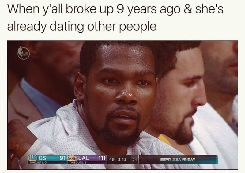 Meme of confused black guy basketball player of when y'all broke up 9 years ago and she is already dating other people.