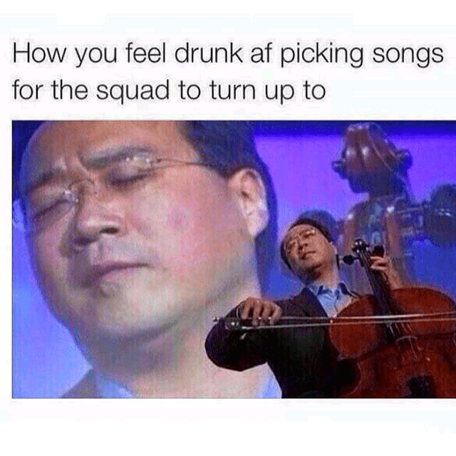 Cello meme about being drunk and picking songs you are all into