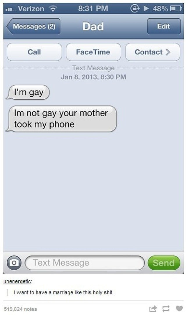 mom DM's son from Dad's phone that he is gay