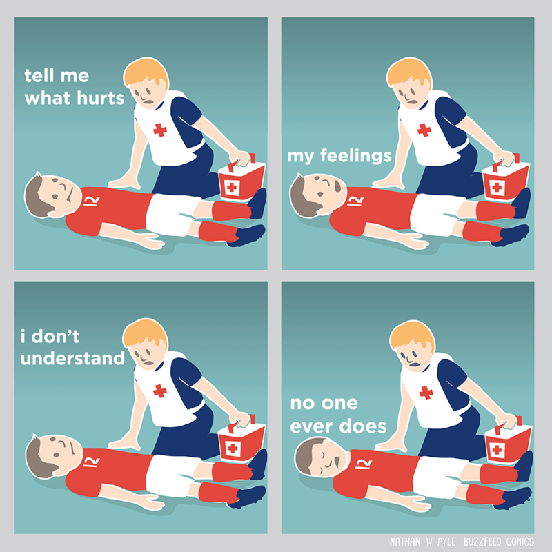 Funny webcomic meme of medic asking where it hurts, he answers feelings, and no one ever understands.