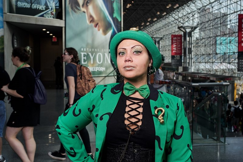 New York Comic Con 2017 woman cosplaying as the riddler