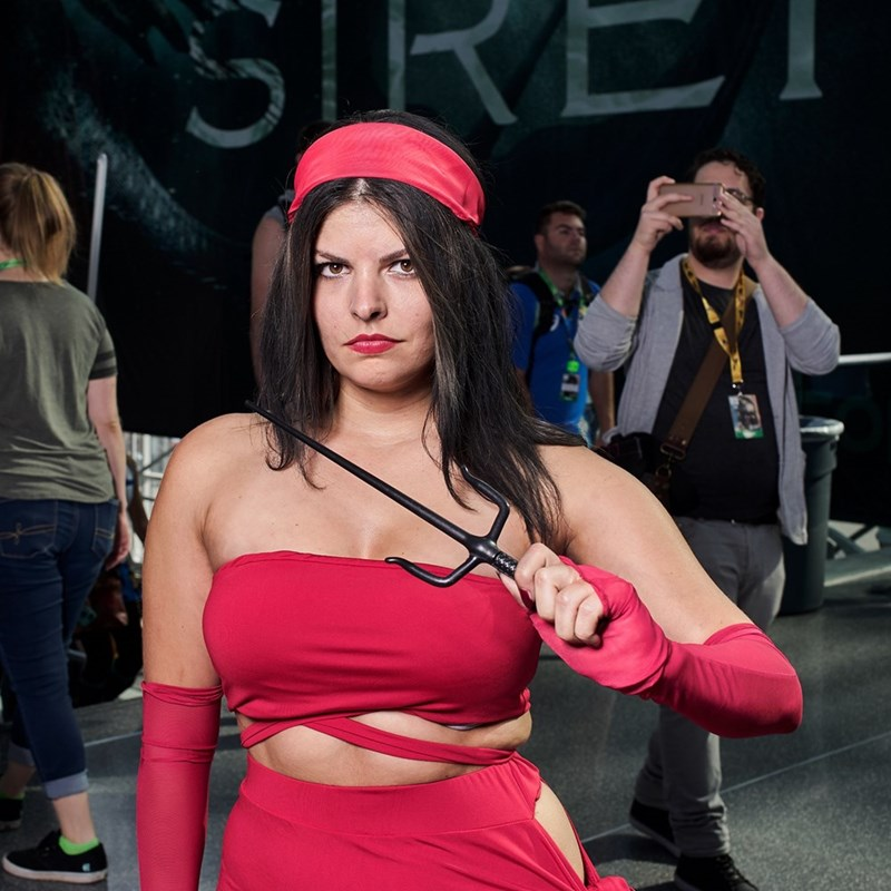 New York Comic Con 2017 girl in red dress cosplay