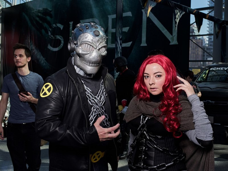 Facial masks and wigs on cosplayers at New York Comic Con 2017