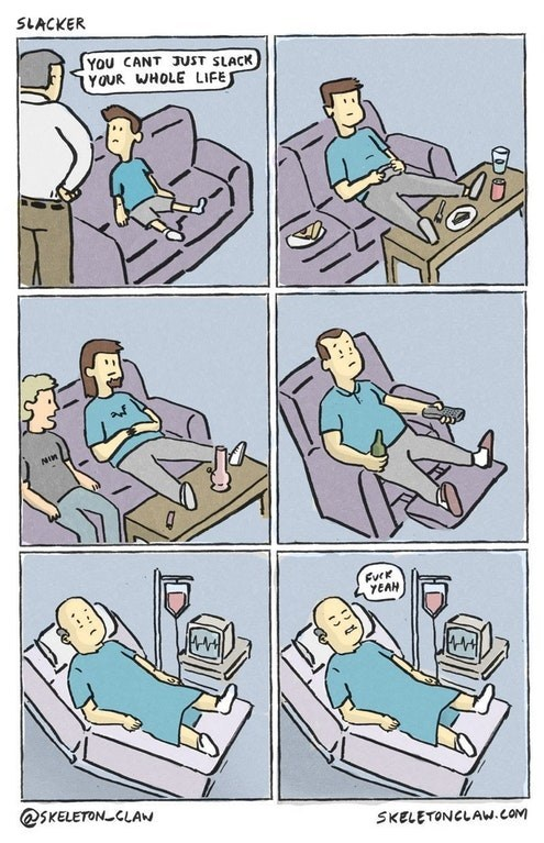 Funny web comic about being a slacker.