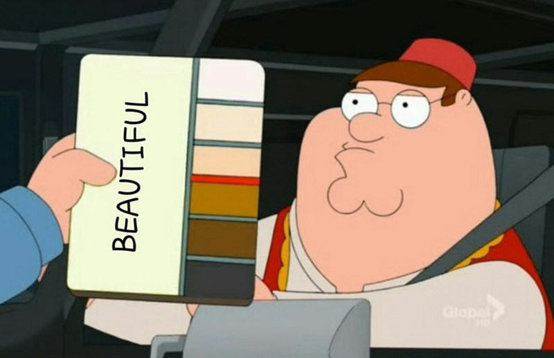 Family Guy meme about skin colors