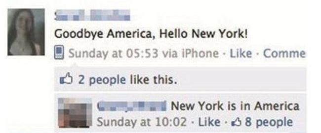 Text - Goodbye America, Hello New York! Sunday at 05:53 via iPhone Like Comme 2 people like this New York is in America Sunday at 10:02 Like 8 people