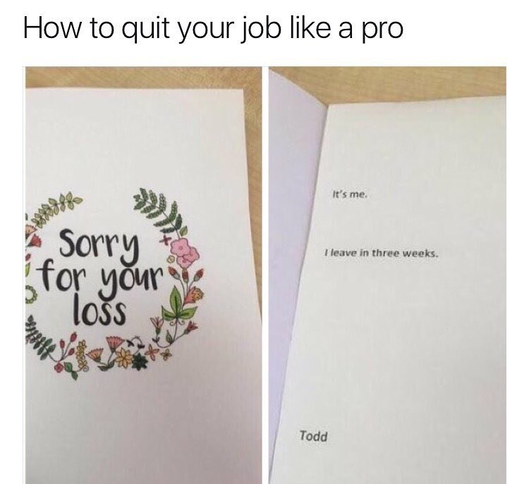 Funny meme about quitting job in style.