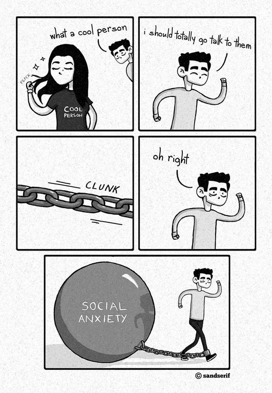 Funny web comic about crippling social anxiety preventing someone from talking to a cool person.