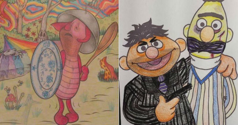 Coloring books turned into adult coloring books with dark humor.