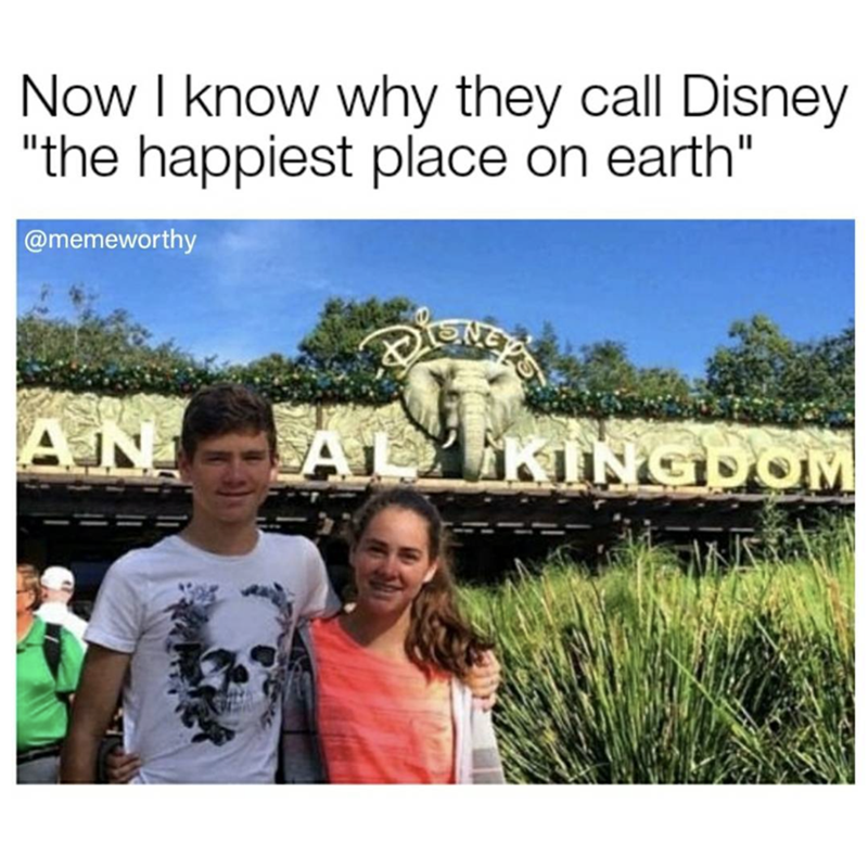 "People - Now I know why they call Disney ""the happiest place on earth"" @memeworthy AN AL KINGDOM"