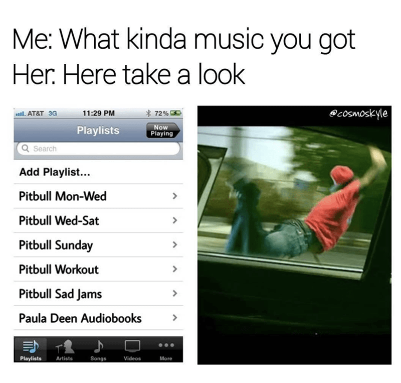 Text - Me: What kinda music you got Her. Here takea look @cosmoskyle 72% 11:29 PM al AT&T 3G Now Playing Playlists Search Add Playlist... Pitbull Mon-Wed Pitbull Wed-Sat Pitbull Sunday Pitbull Workout Pitbull Sad Jams Paula Deen Audiobooks Playlists Songs Artists Videos More