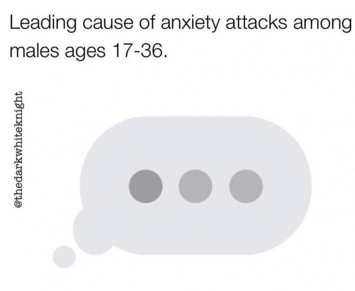 Text - Leading cause of anxiety attacks among males ages 17-36 @thedarkwhiteknight