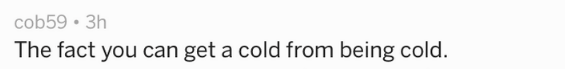 Text - The fact you can get a cold from being cold.