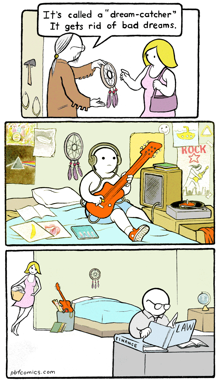 "Twisted Comic - Cartoon - It's called a ""dream-catcher"" It gets rid of bad dreams. ROCK 오오오 FINANCE pbfcomics.com"