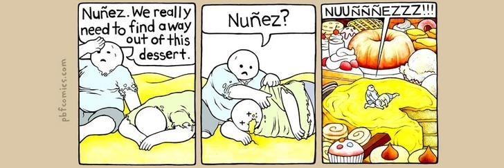 Twisted Comic - Cartoon - Nuñez. We really NUUNNNEZZZ!!! Nuñez? need to find away out of this dessert pbfcomics.com
