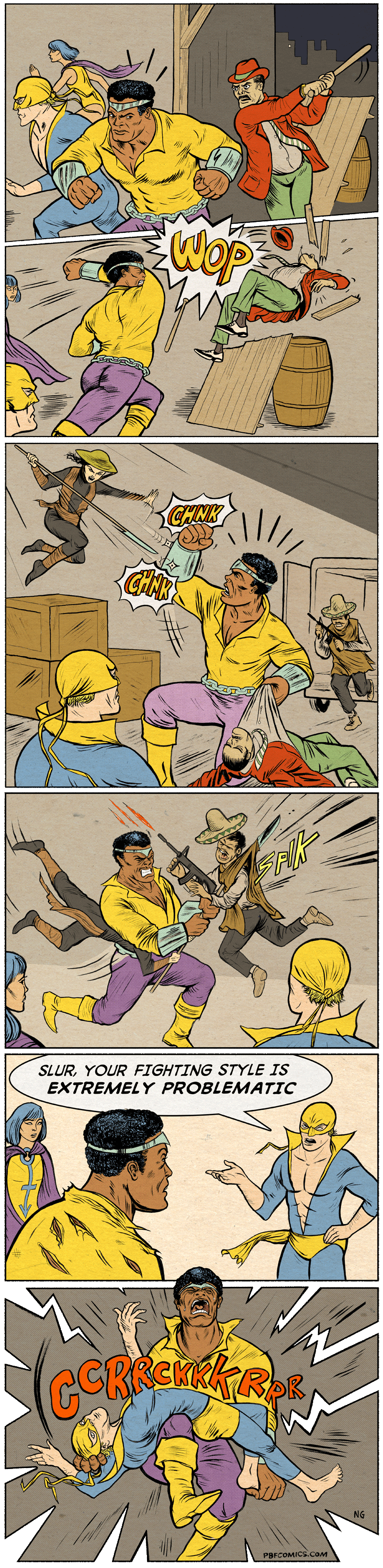 Twisted Comic - Cartoon - CHNK SLUR, YOUR FIGHTING STYLE IS EXTREMELY PROBLEMATIC CRCRR NG PBFCOMICS.COM