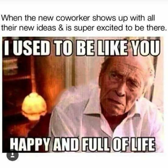Funny meme about new coworkers being happy and full of life while you are jaded and miserable.
