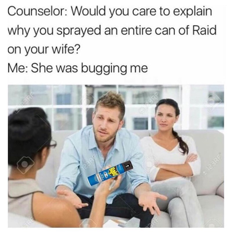 Funny meme about a man spraying his wife with Raid because she was bugging him.