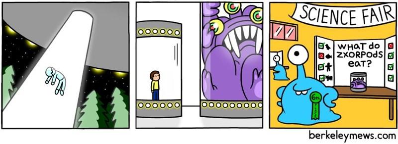 Cartoon - SCIENCE FAIR OO WHAT do ZXORPODS еат? WA OOOOOO berkeleymews.com