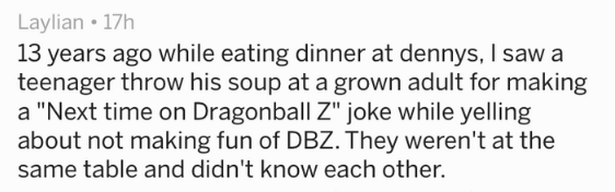 "Text - Laylian 17h 13 years ago while eating dinner at dennys, I saw a teenager throw his soup at a grown adult for making a ""Next time on Dragonball Z"" joke while yelling about not making fun of DBZ. They weren't at the same table and didn't know each other"