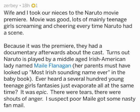 Text - zerbey 18h 01 Wife and I took our nieces to the Naruto movie premiere. Movie was good, lots of mainly teenage girls screaming